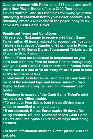 Bet365 Poker Bonus Terms
